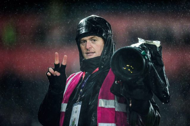 headshot of wedding photographer craig Thomas covering a premier league football match